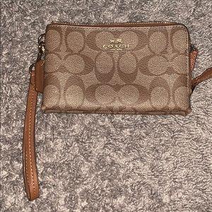 Authentic Double pouch Coach Wristlet